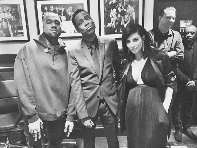 Chris Rock poses with Kanye West and Kim Kardashian West.