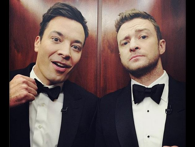 Justin and Jimmy Fallon certainly look suave in this suited-up snapshot.