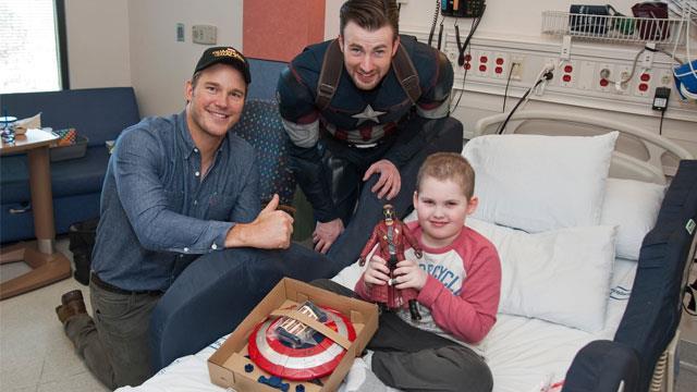 Chris Evans and Chris Pratt visit children's hospital