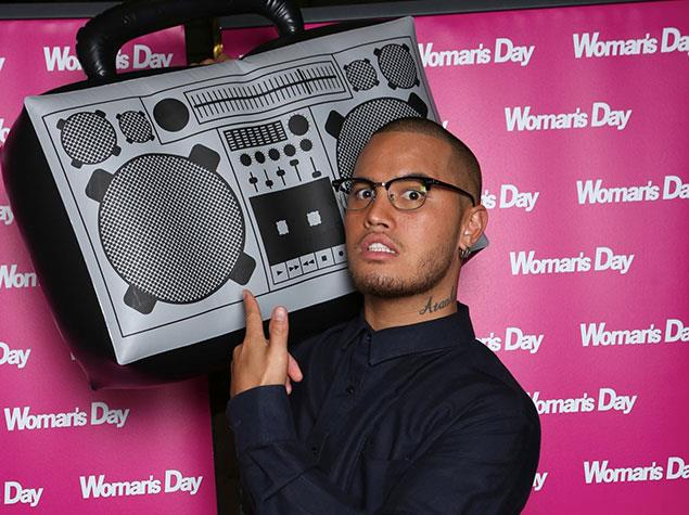 Stan Walker has his turn posing with the stereo!