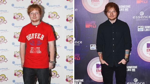 Ed in 2011 (left) and at the MTV EMAs last year (right).