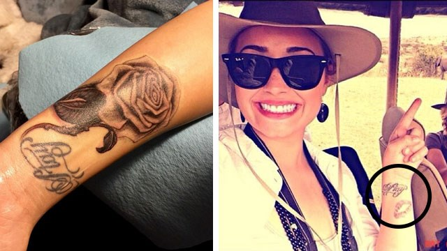 Demi's new tattoo (left) and the old one (right).