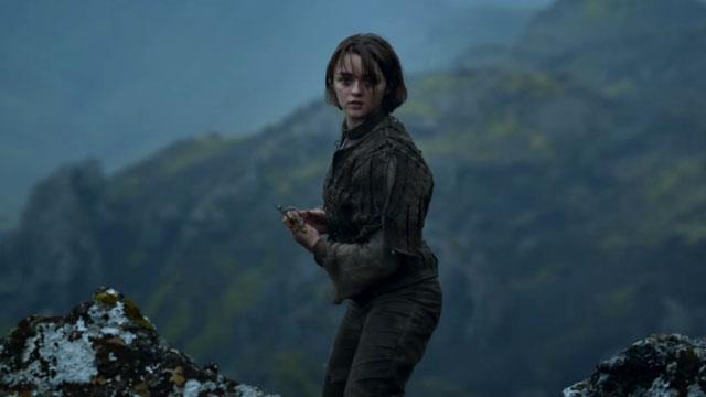 Maisie in character as Arya Stark