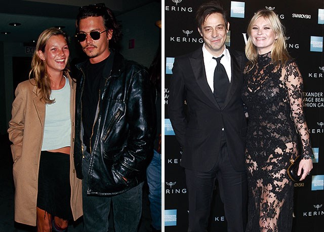 Kate with ex-boyfriend Johnny Depp (left) and with husband Jamie Hince (right).