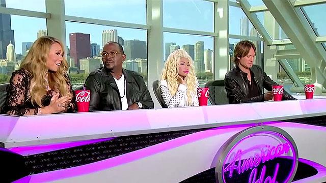 Mariah, Randy Jackson, Nicki Minaj and Keith Urban on the judging panel of American Idol.