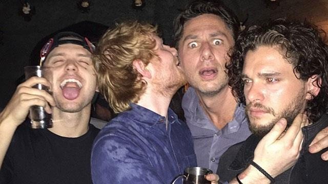 Ed Sheeran's boys' night out with and Zach Braff